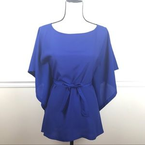 The Limited Blue Tie Waist Wing Blouse